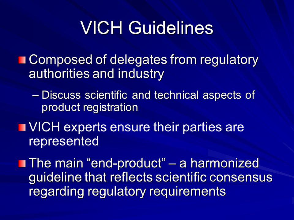 VICH Guidelines Composed of delegates from regulatory authorities and industry. Discuss scientific and technical aspects of product registration.