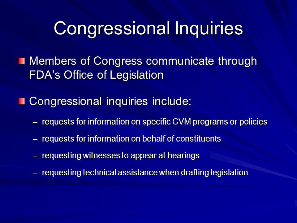 Congressional Inquiries