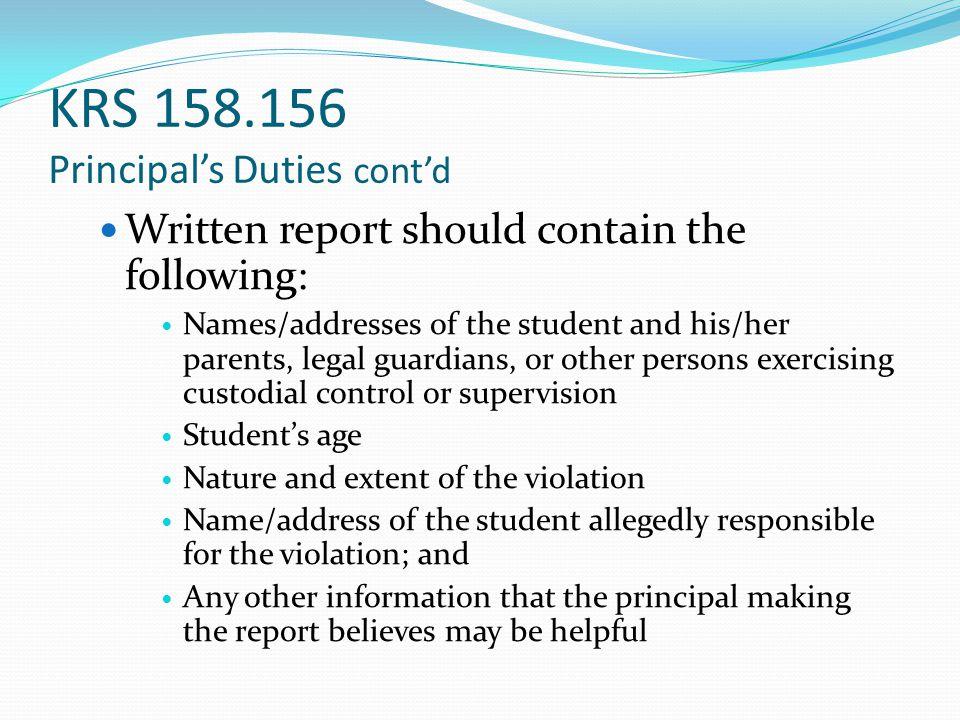 KRS 158.156 Principal's Duties cont'd