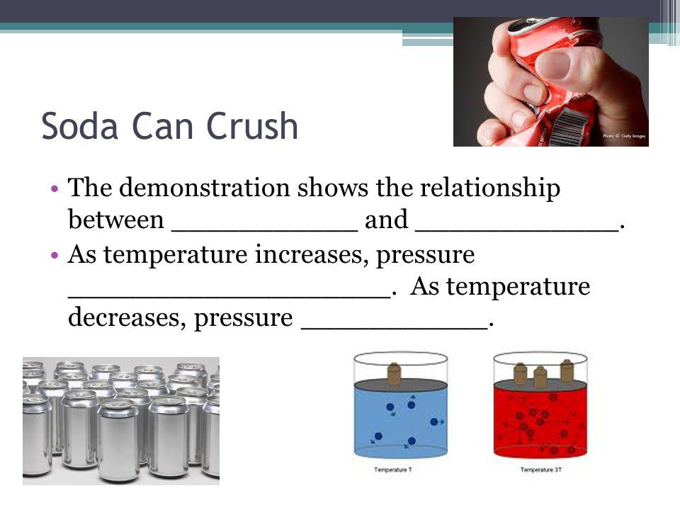 Soda Can Crush The demonstration shows the relationship between ___________ and ____________.