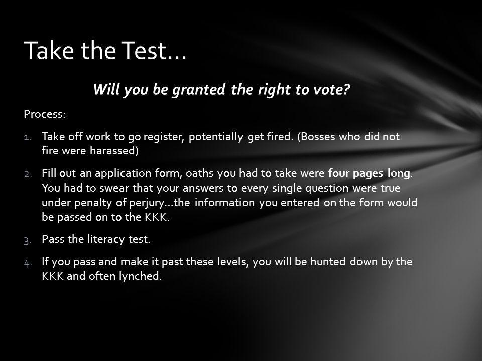 Will you be granted the right to vote