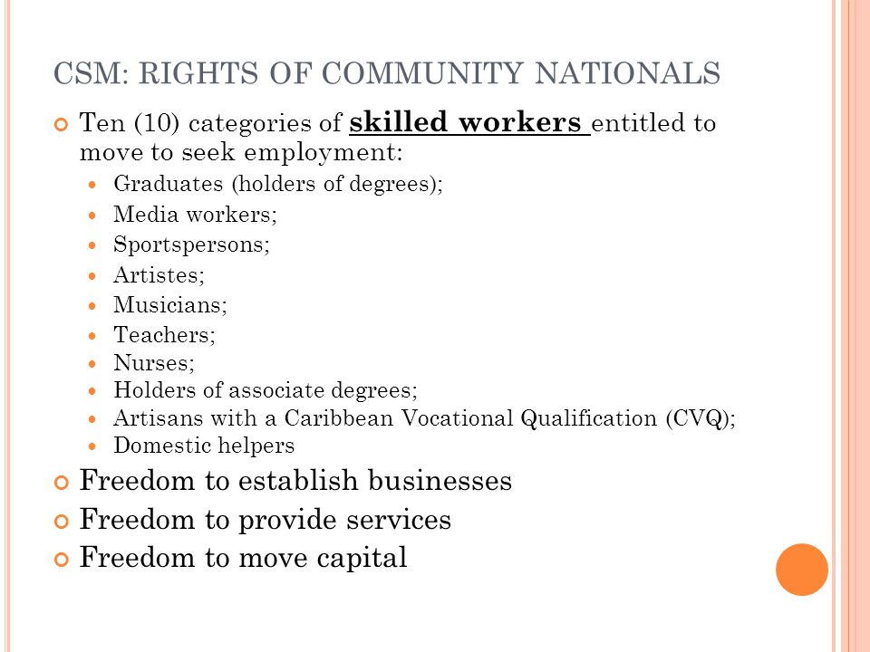 CSM: RIGHTS OF COMMUNITY NATIONALS
