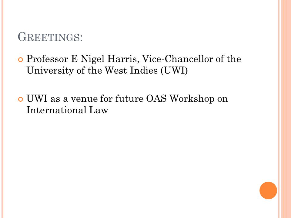 Greetings: Professor E Nigel Harris, Vice-Chancellor of the University of the West Indies (UWI)