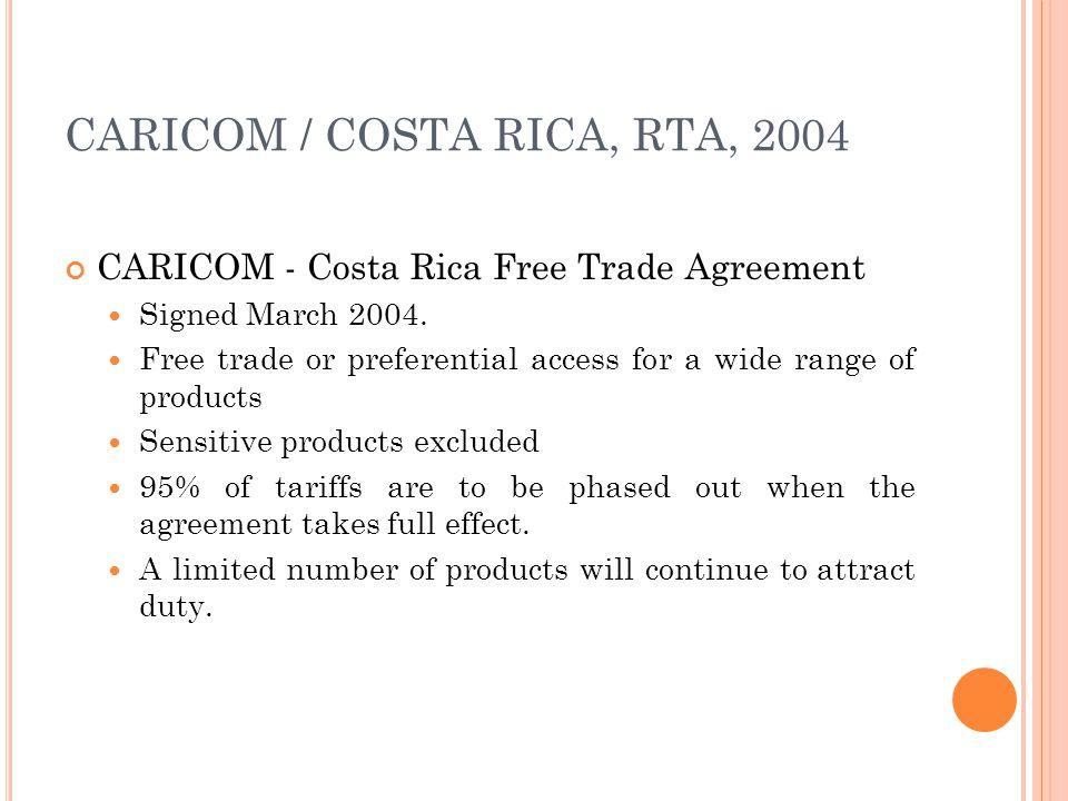 CARICOM / COSTA RICA, RTA, 2004