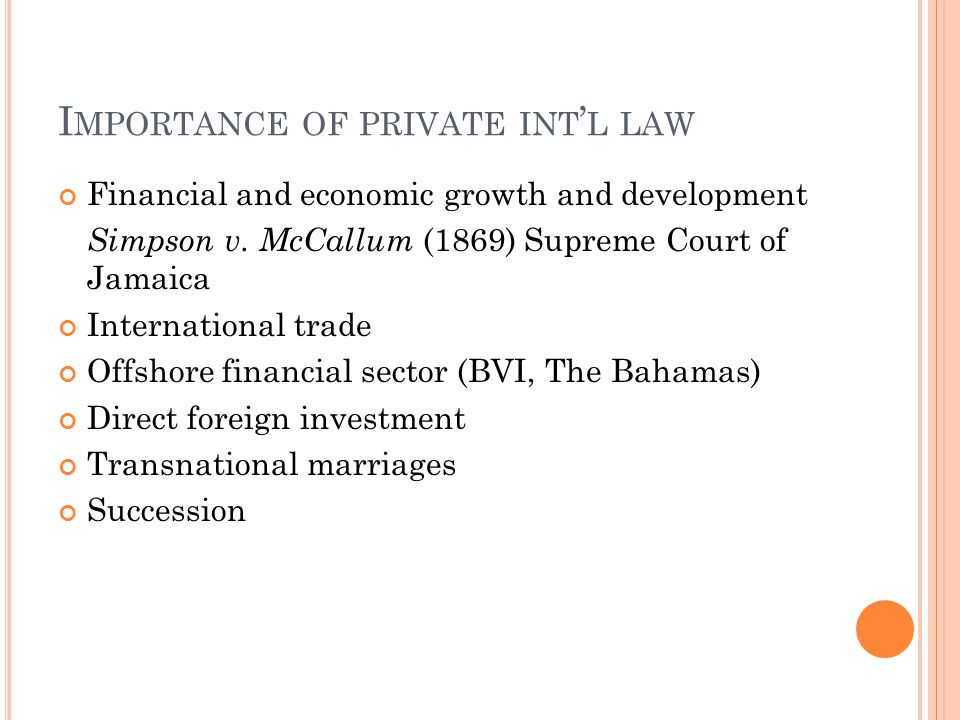 Importance of private int'l law