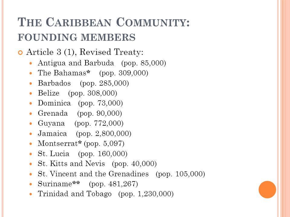 The Caribbean Community: founding members