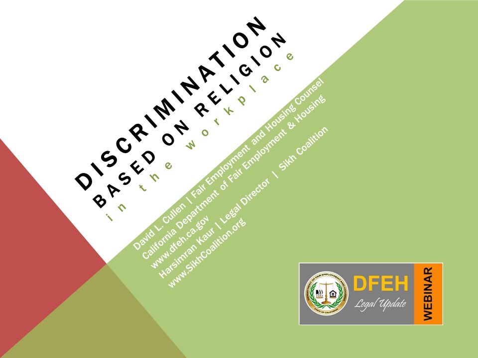 Discrimination based on religion in the workplace David L