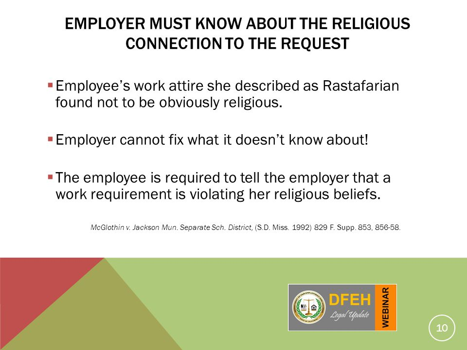 Employer Must Know About THE Religious CONNECTION TO THE REQUEST