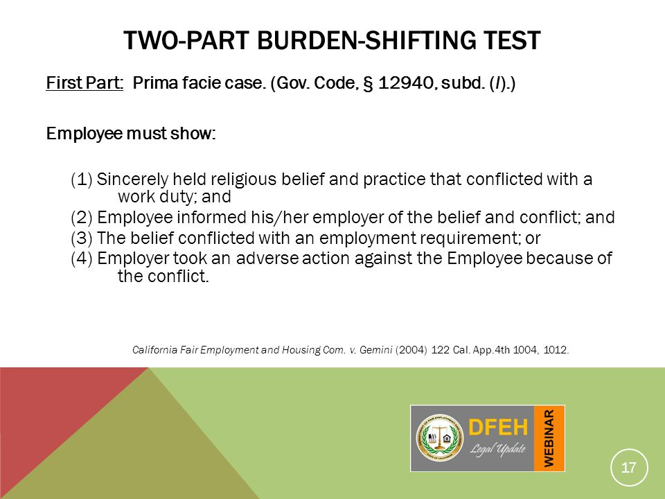 Two-Part Burden-Shifting Test