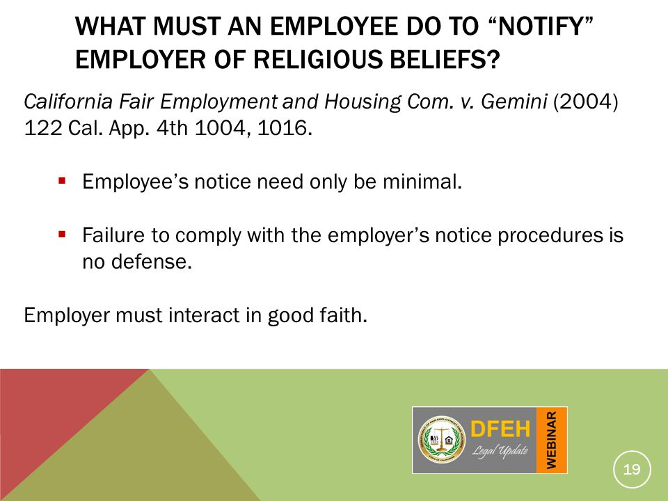 What Must An Employee Do To Notify Employer Of Religious Beliefs