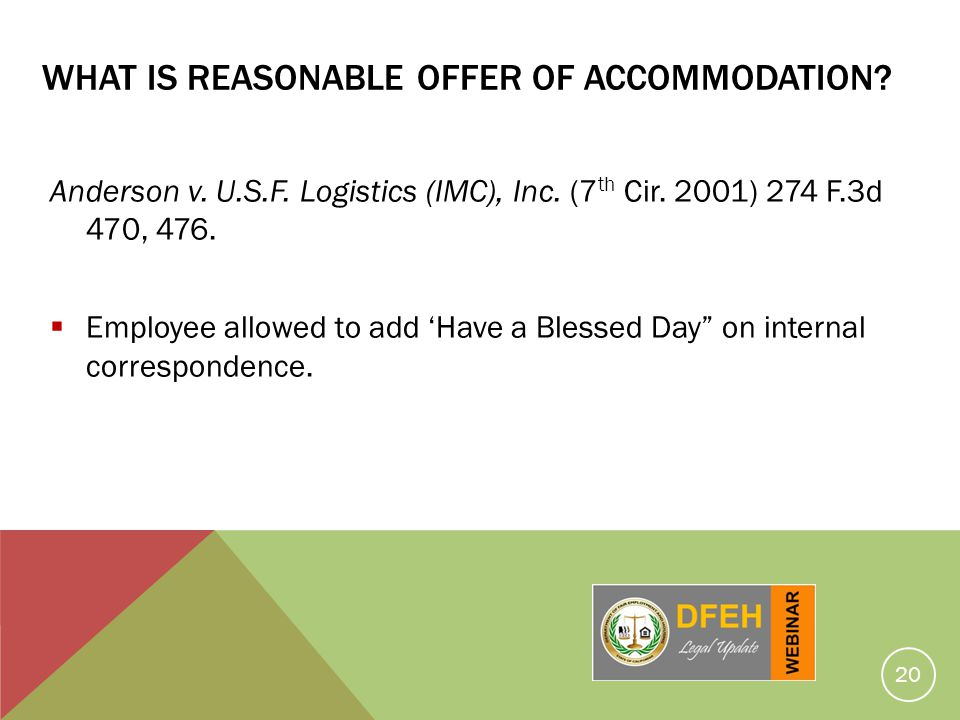 What Is Reasonable Offer Of Accommodation