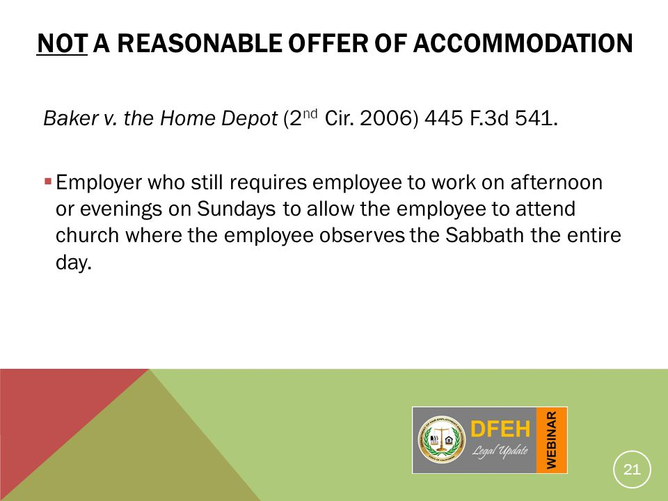 Not a Reasonable Offer of Accommodation