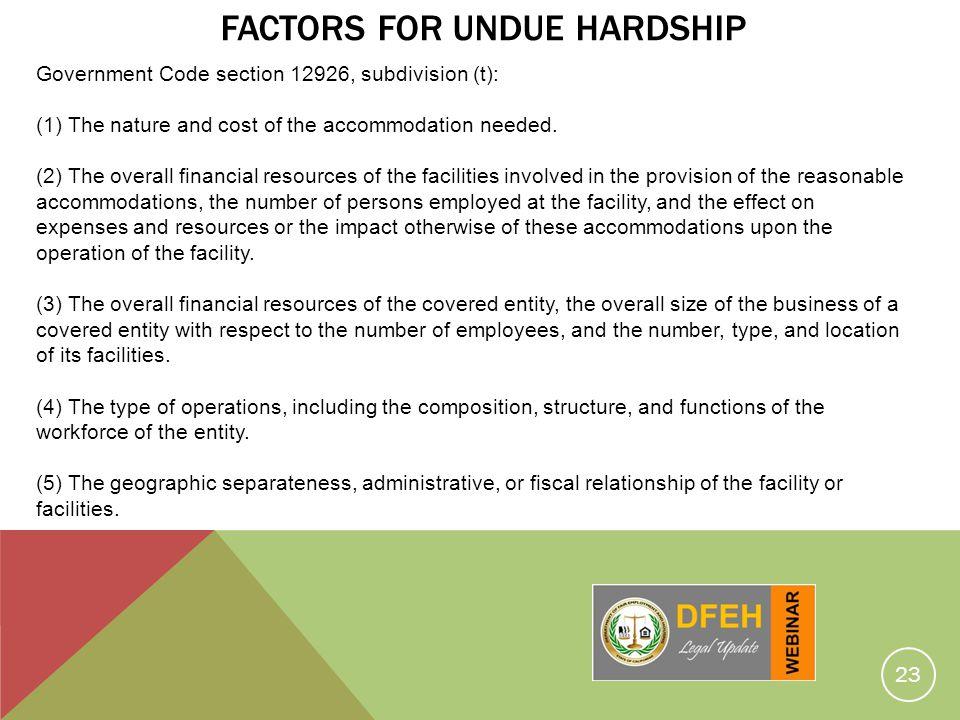 Factors for Undue Hardship