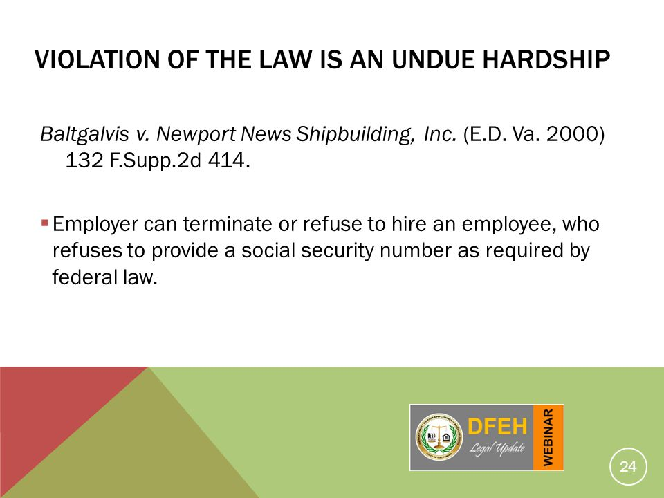 Violation Of The Law Is An Undue Hardship