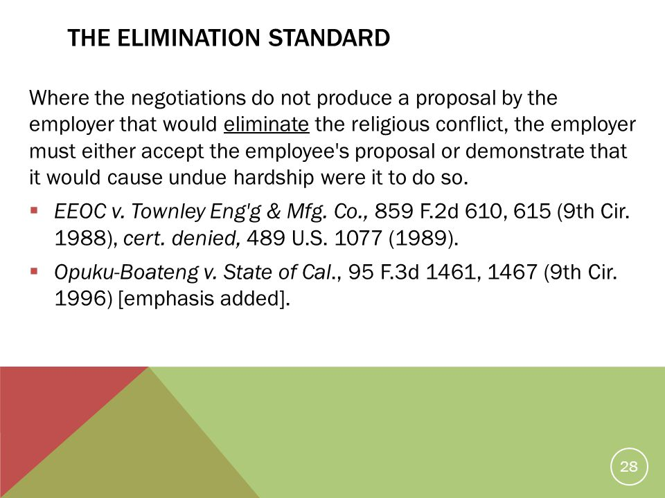 The Elimination Standard