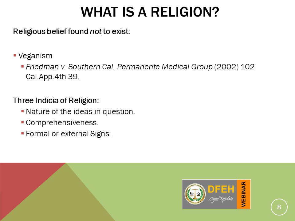 What is a Religion Religious belief found not to exist: Veganism