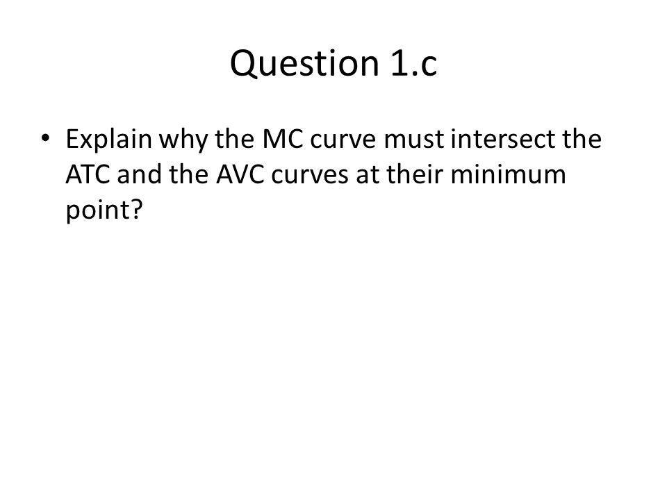 Question 1.c Explain why the MC curve must intersect the ATC and the AVC curves at their minimum point