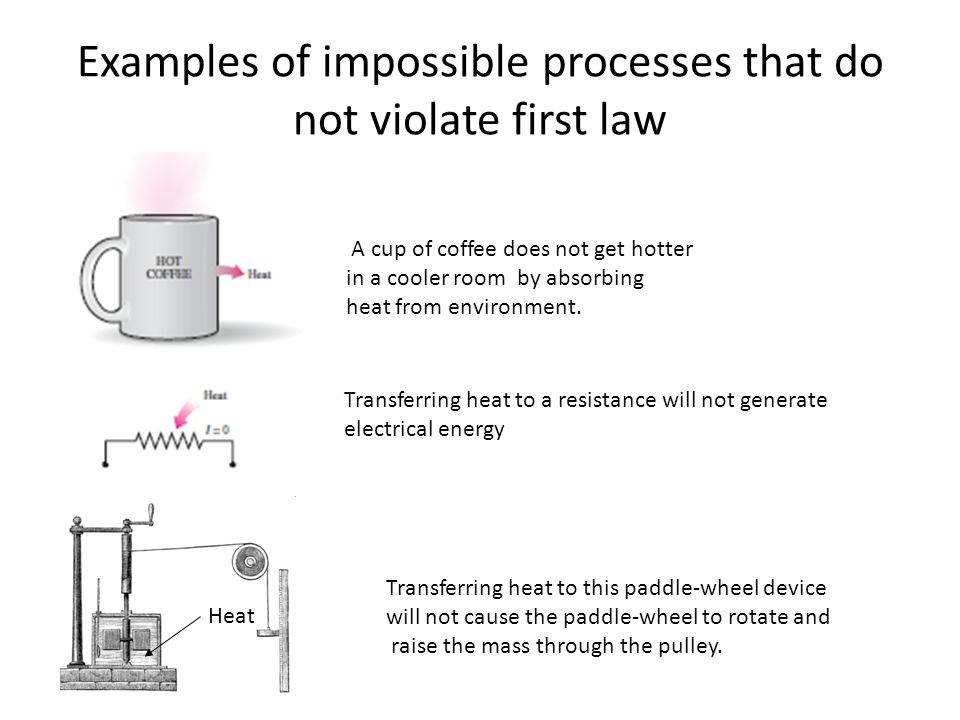 Examples of impossible processes that do not violate first law