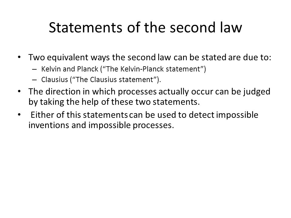 Statements of the second law