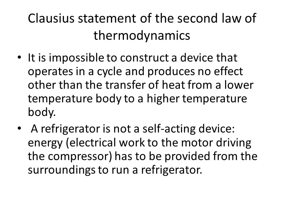 Clausius statement of the second law of thermodynamics