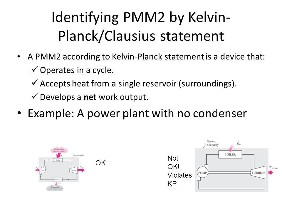 Identifying PMM2 by Kelvin-Planck/Clausius statement
