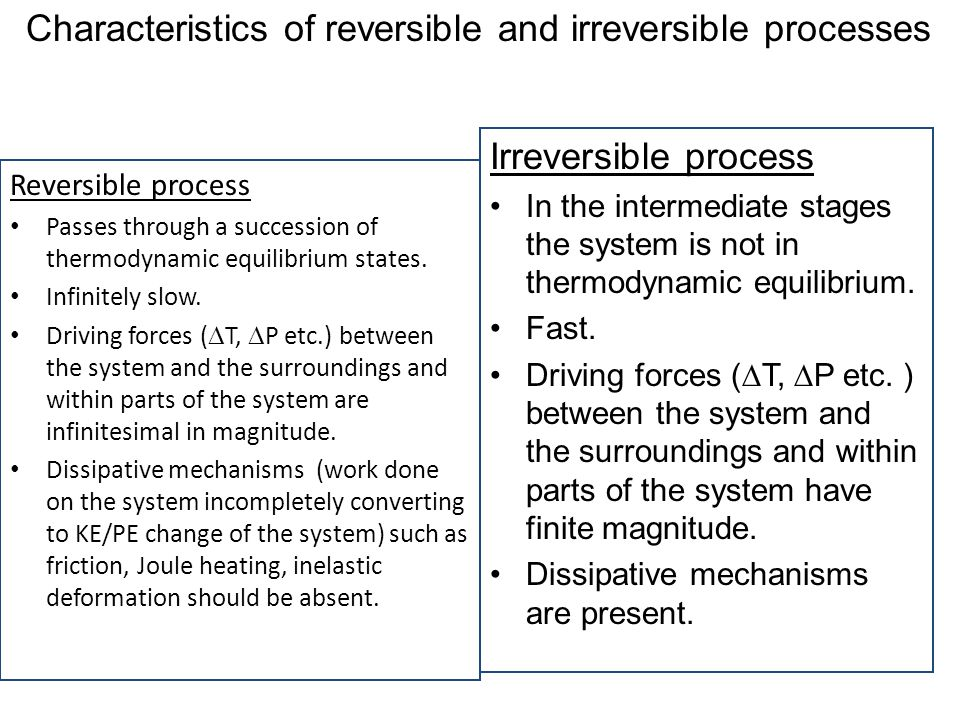 Characteristics of reversible and irreversible processes