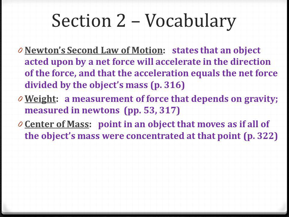 Section 2 – Vocabulary