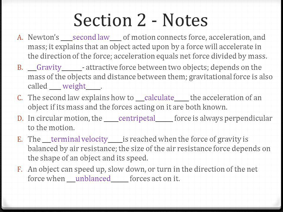 Section 2 - Notes