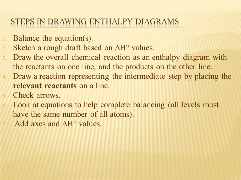 Steps in drawing enthalpy diagrams