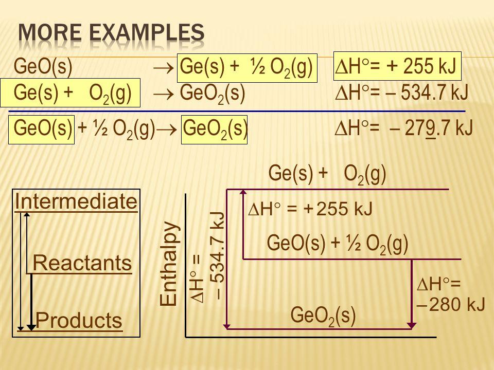 MORE EXAMPLES GeO(s)  Ge(s) + ½ O2(g) H= + 255 kJ