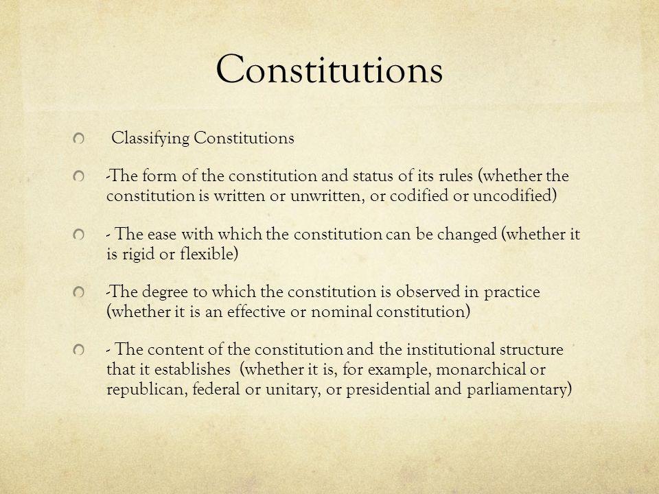 Constitutions Classifying Constitutions