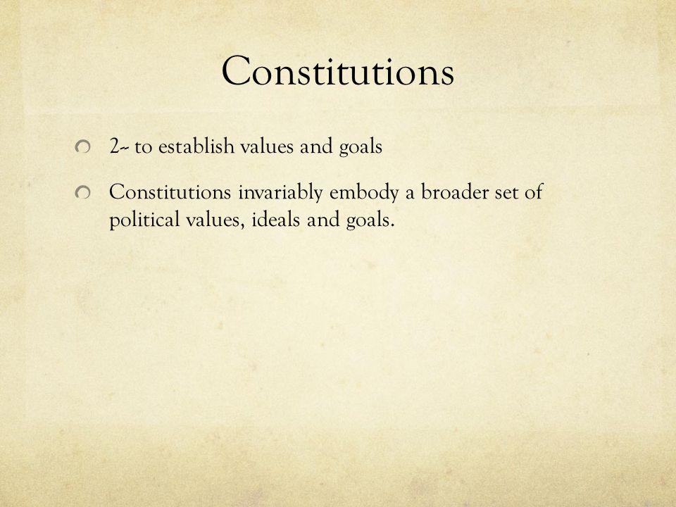 Constitutions 2-- to establish values and goals