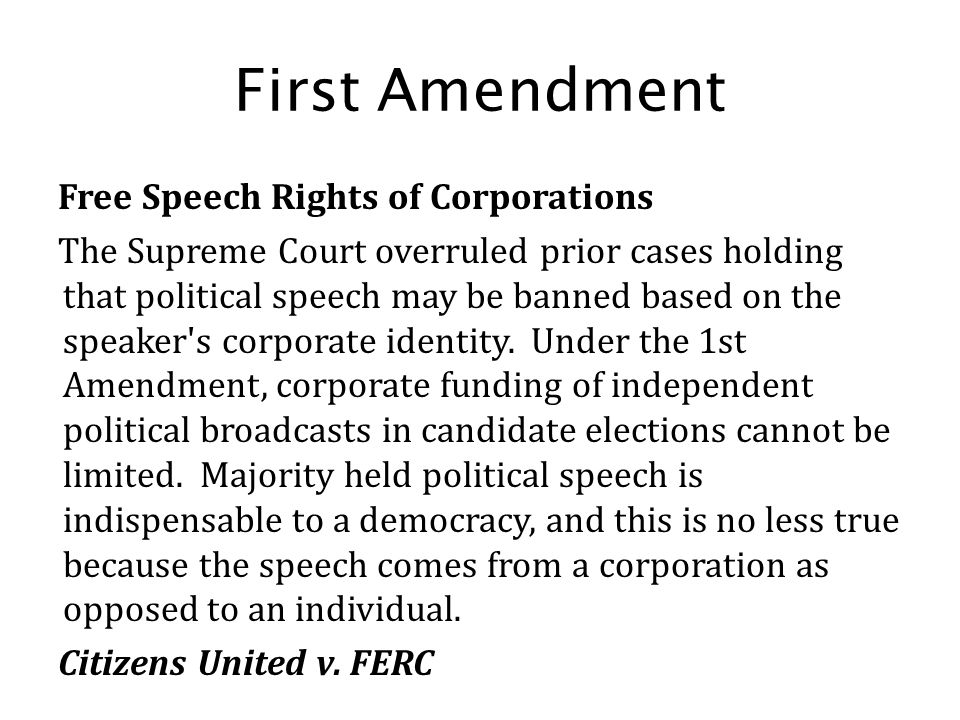 First Amendment Free Speech Rights of Corporations