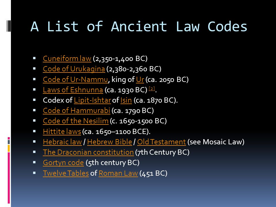 A List of Ancient Law Codes