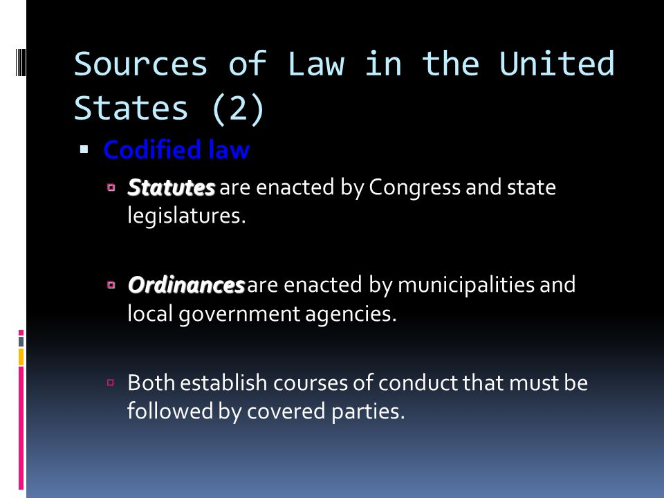 Sources of Law in the United States (2)