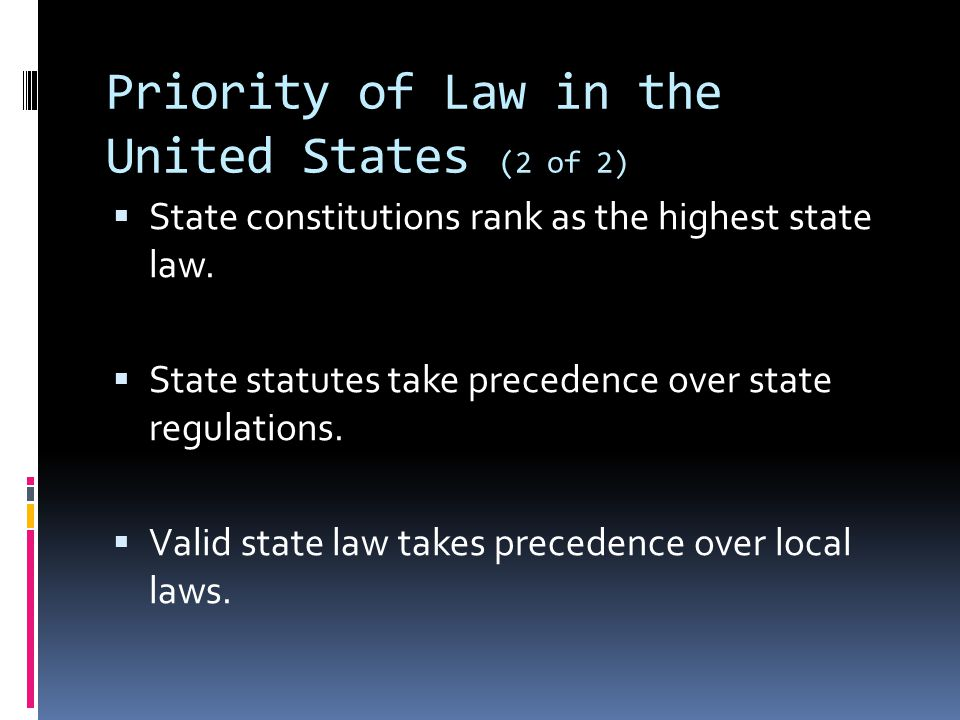 Priority of Law in the United States (2 of 2)