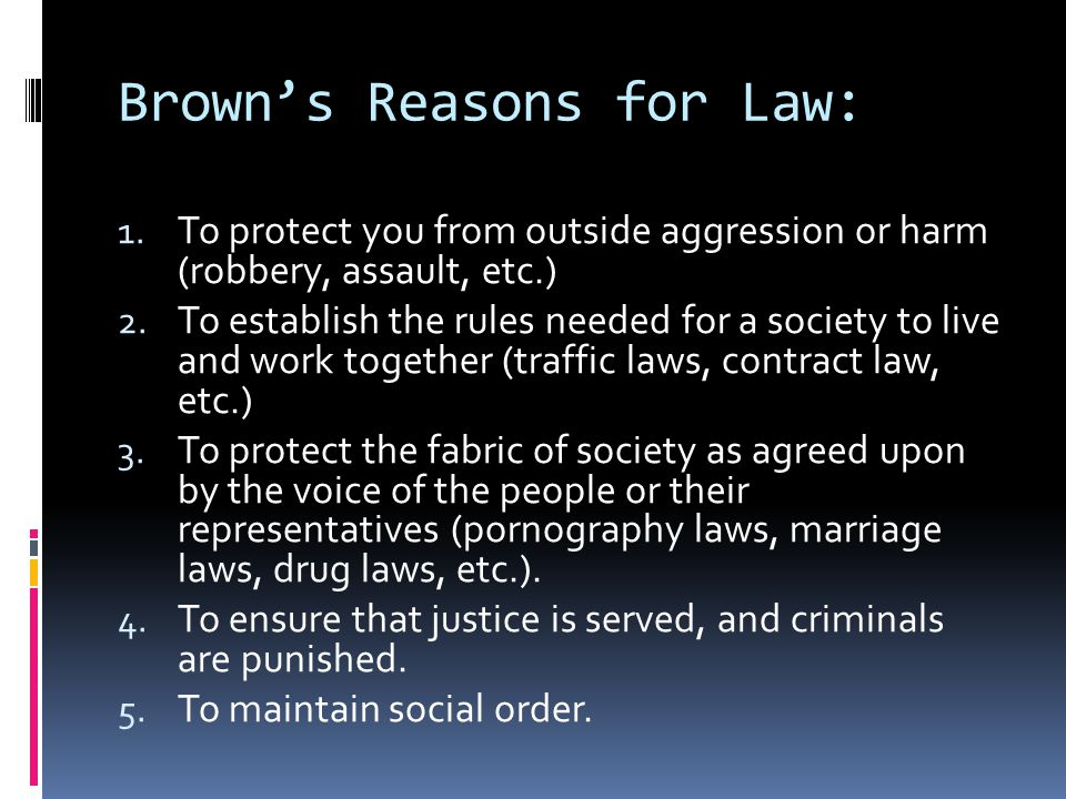 Brown's Reasons for Law: