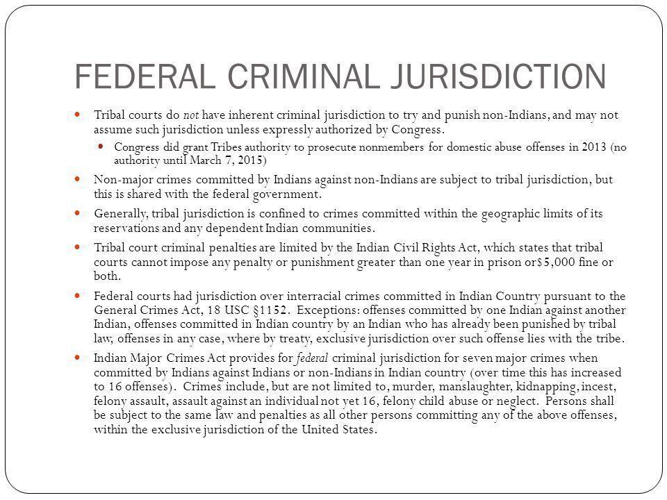 FEDERAL CRIMINAL JURISDICTION