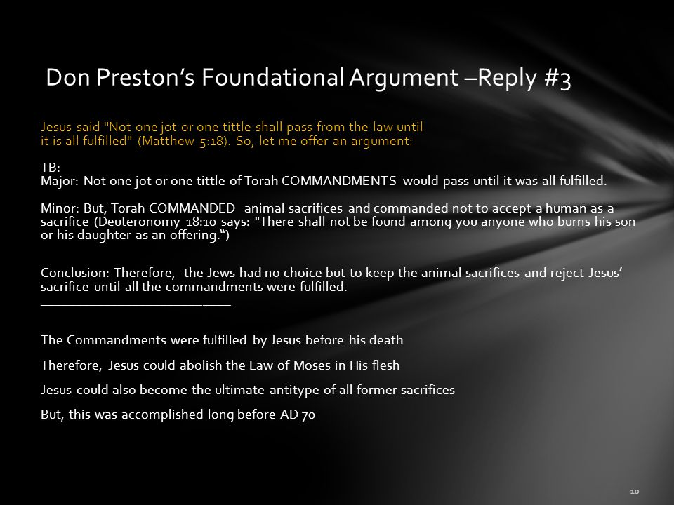 Don Preston's Foundational Argument –Reply #3