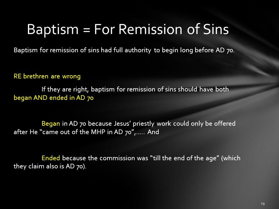 Baptism = For Remission of Sins