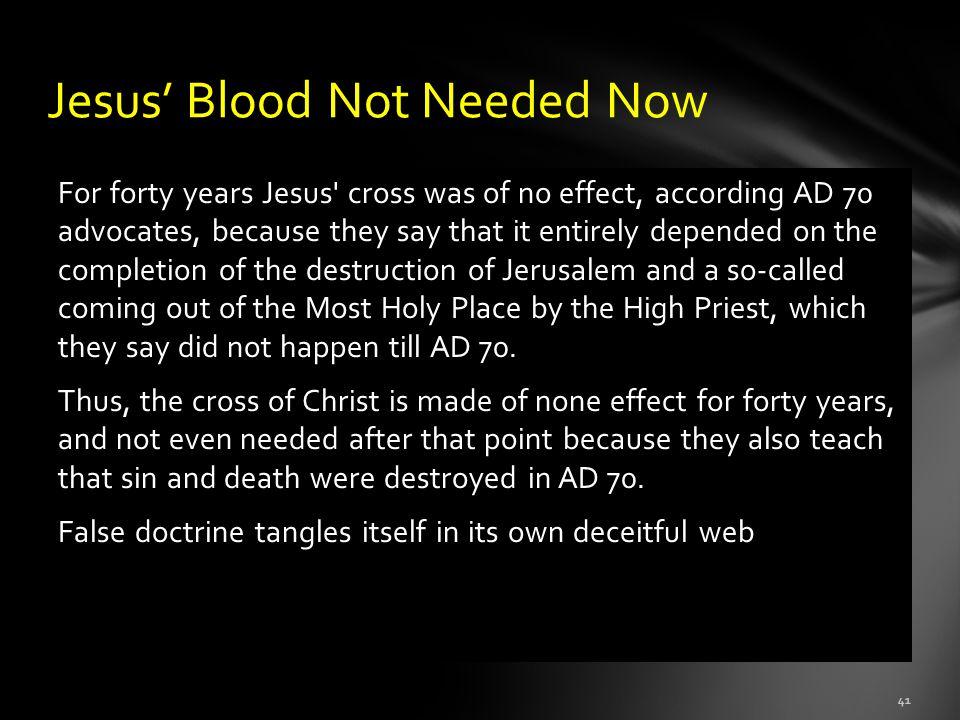 Jesus' Blood Not Needed Now