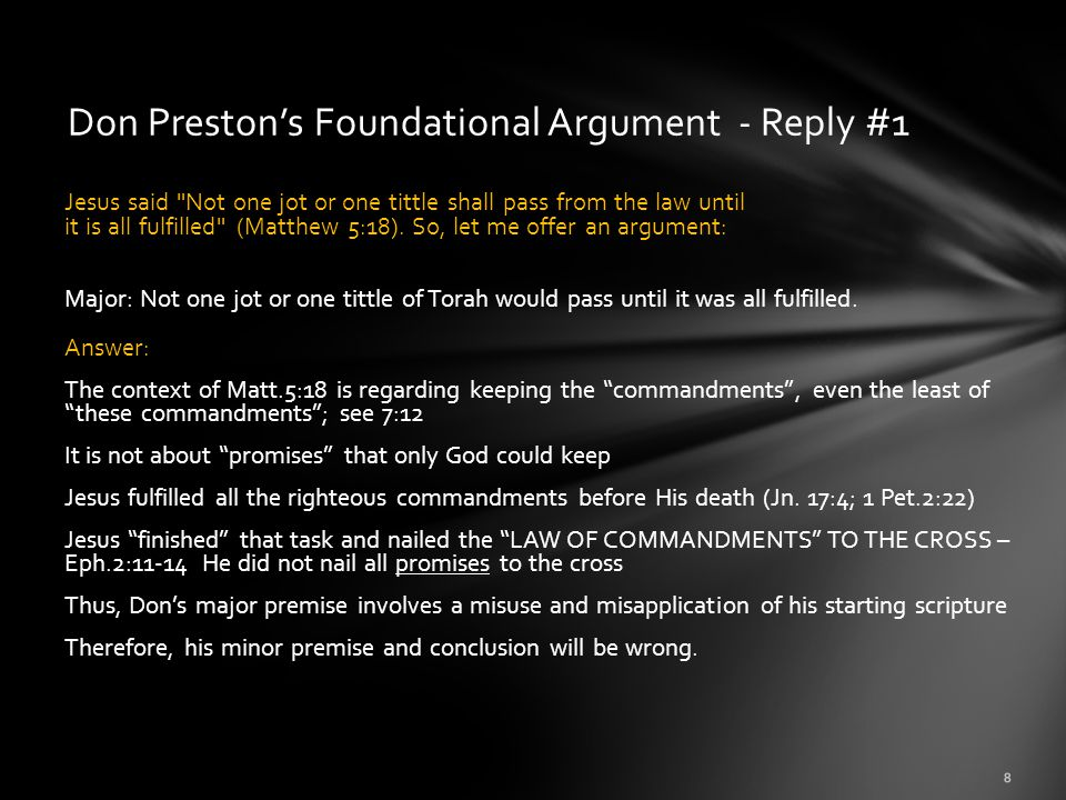 Don Preston's Foundational Argument - Reply #1