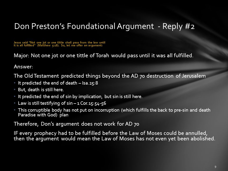 Don Preston's Foundational Argument - Reply #2