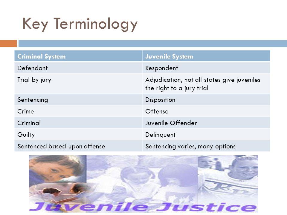 Key Terminology Criminal System Juvenile System Defendant Respondent