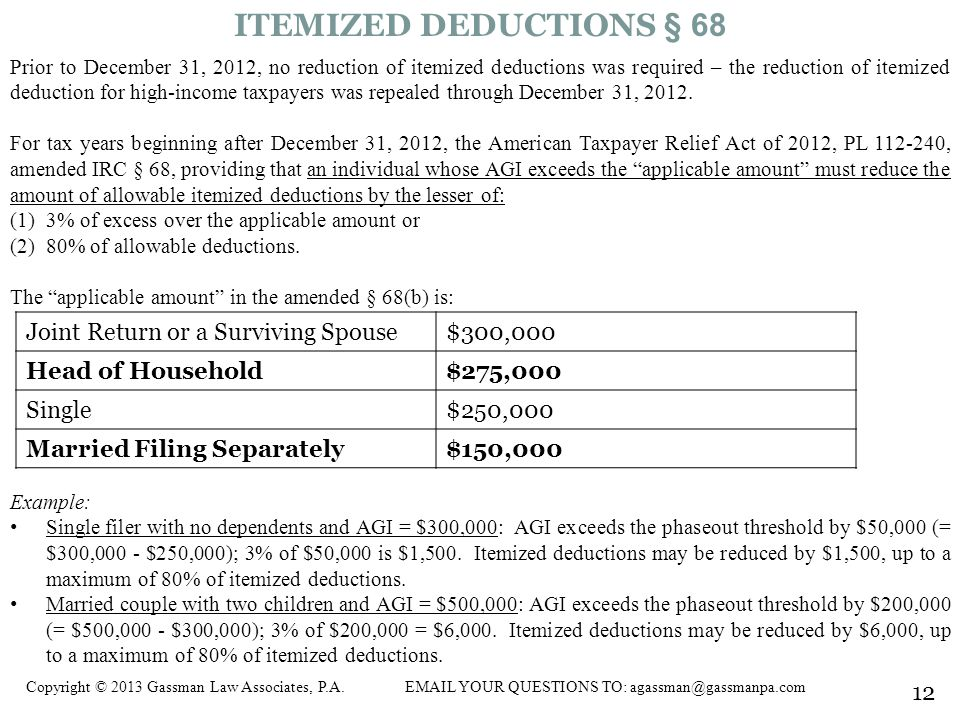 ITEMIZED DEDUCTIONS § 68 Joint Return or a Surviving Spouse $300,000