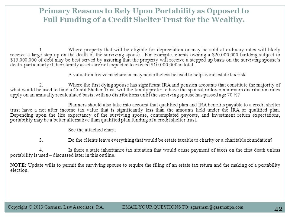 Primary Reasons to Rely Upon Portability as Opposed to