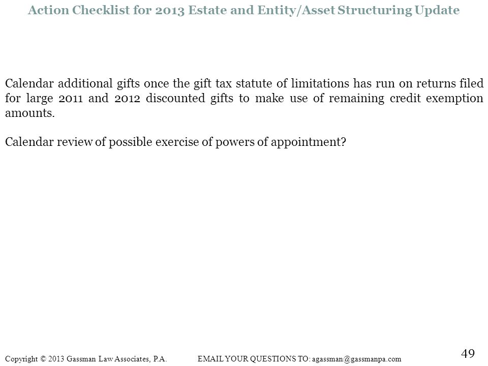Action Checklist for 2013 Estate and Entity/Asset Structuring Update