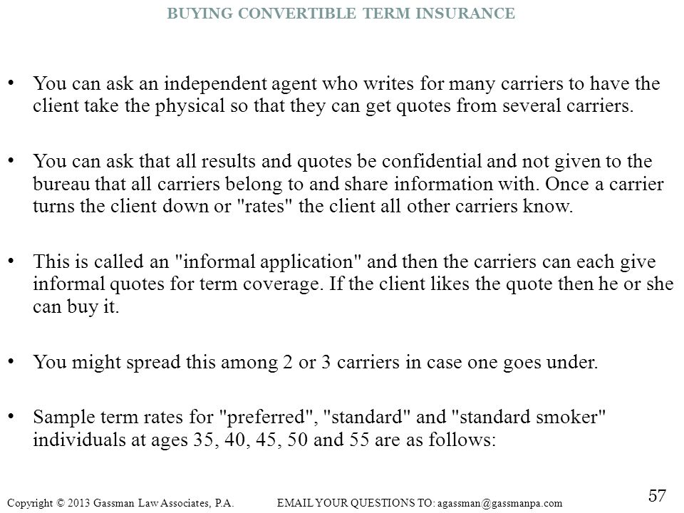 BUYING CONVERTIBLE TERM INSURANCE