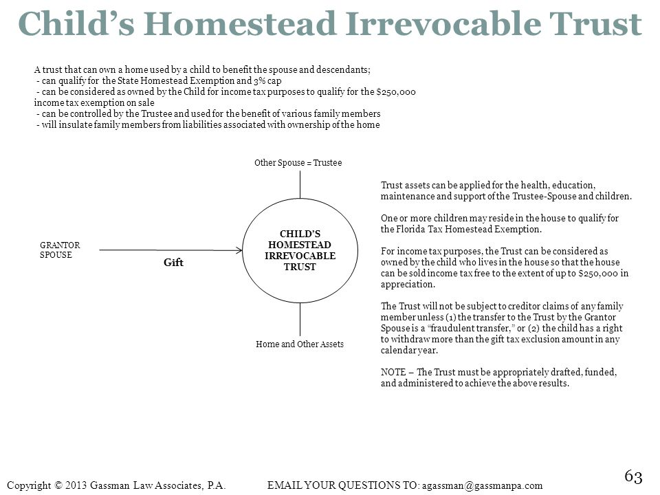 Child's Homestead Irrevocable Trust