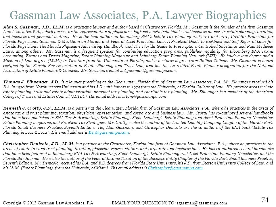 Gassman Law Associates, P.A. Lawyer Biographies